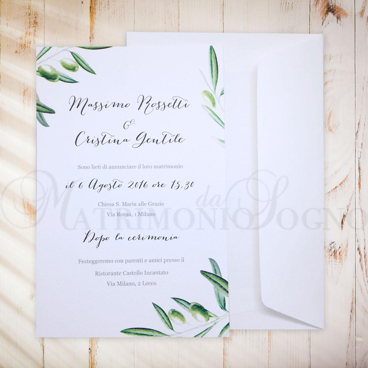 Matrimonio Tema Ulivo : Partecipazioni ulivo bomboniere matrimonio
