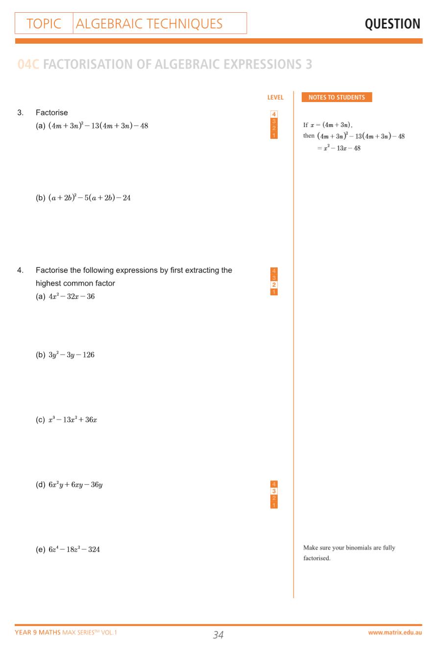 hight resolution of Part 1: Year 9 Algebraic Techniques \u0026 Equations   Free Worksheet