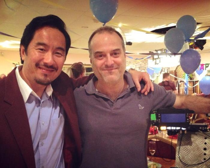 Anthony Brandon Wong and Michael Futcher on the set of The Family Law