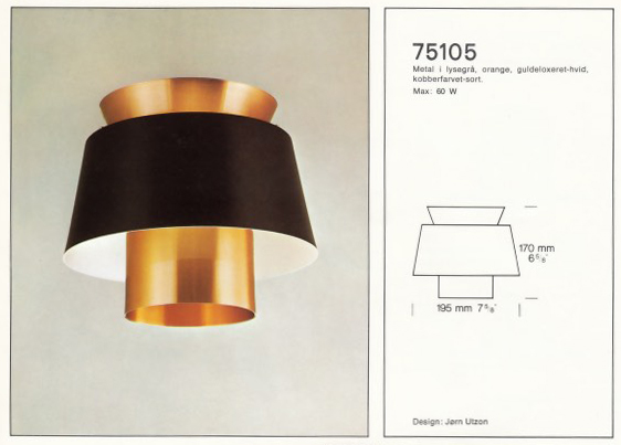 Jørn Utzons lampe 74020 Tivoli for Nordisk Solar Compagni.