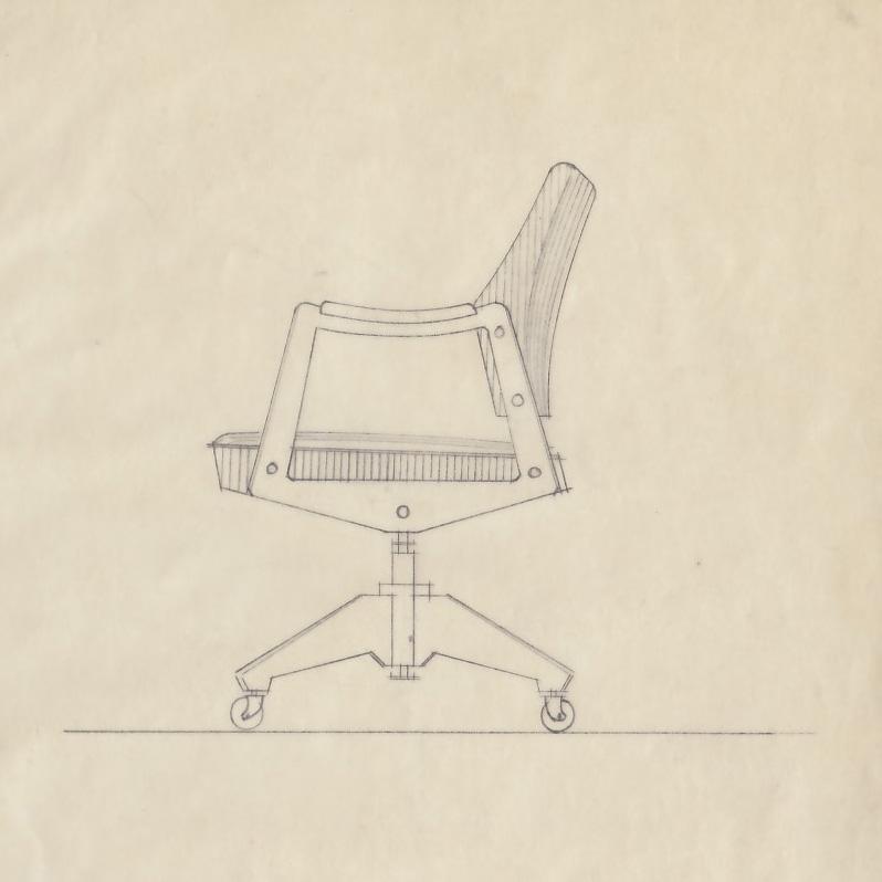 Fredrik Kayser ved Rastad & Relling Tegnekontor. Skrivebordstol. Tegnet i anledning Stortingsbygningens utvidelse. 1955.