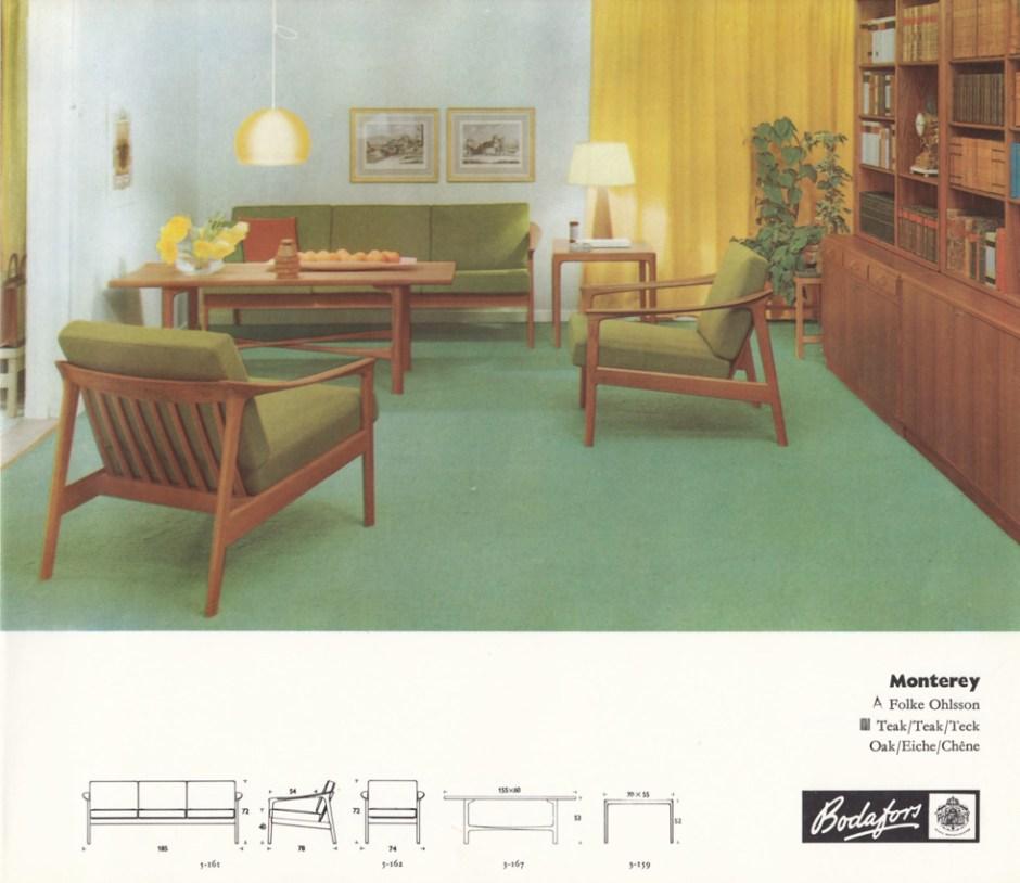 Reklame med Folke Ohlssons sofagruppe Monterey.