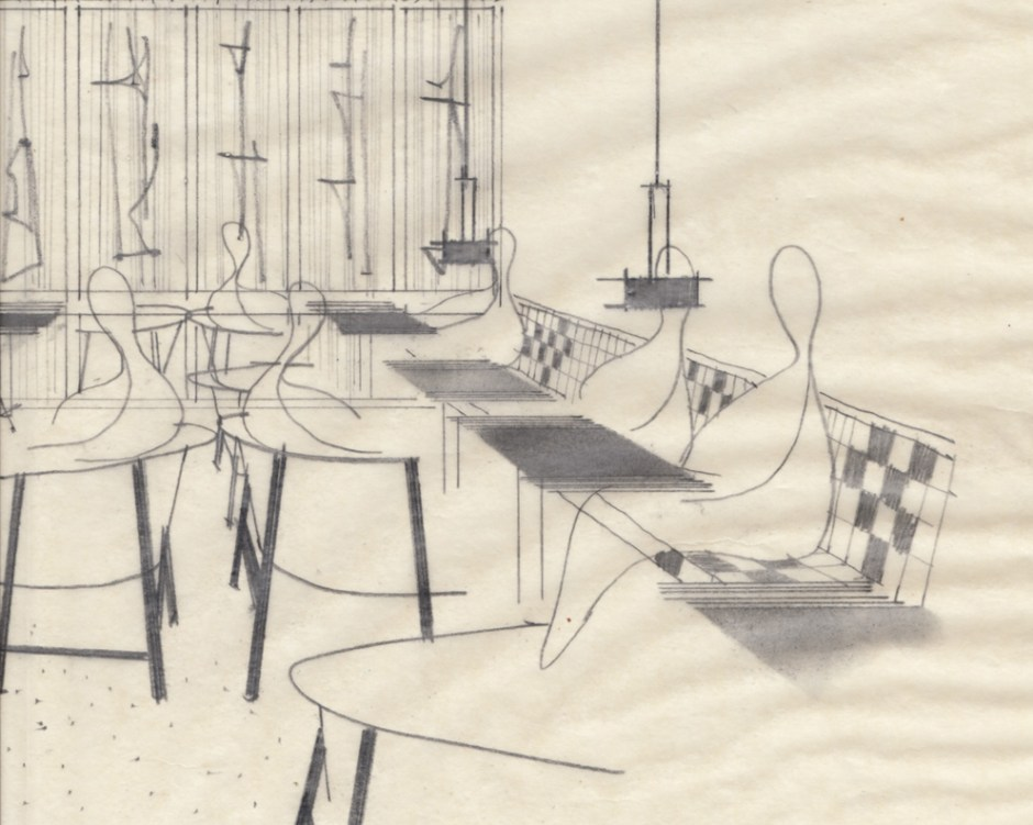 Arne Halvorsen ved Rastad & Relling Tegnekontor. Skisse til Grand Bar, Oslo. Datert: 28/3-1957.