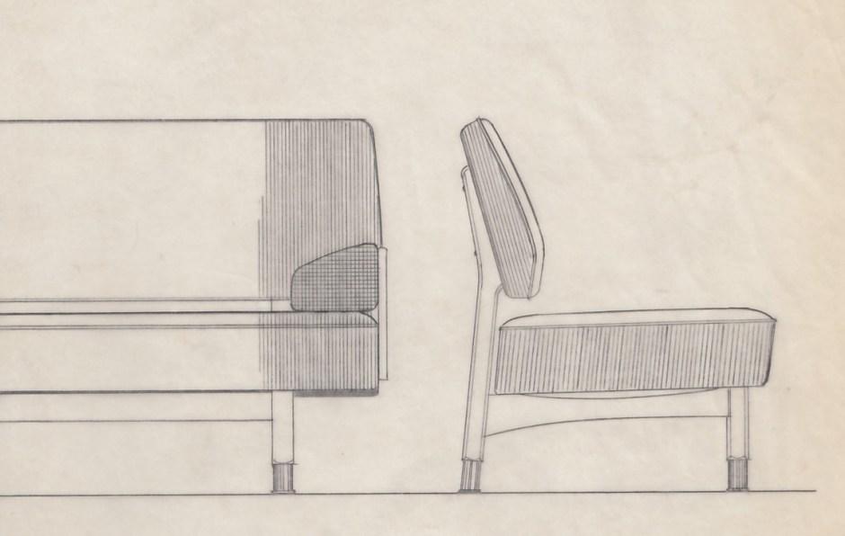 Torbjørn Bekken ved Rastad & Relling Tegnekontor. Sofa tegnet i anledning Stortingsbygningens utvidelse. 1956.
