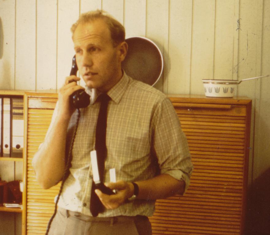 Svein Hansen på sitt kontor på Cathrineholm.