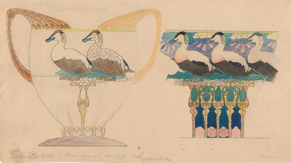 Thorolf Holmboe. Tegning til korpus i sølv og emalje for David-Andersen. 1906-10. (Foto: Nasjonalmuseet / Morten Thorkildsen)