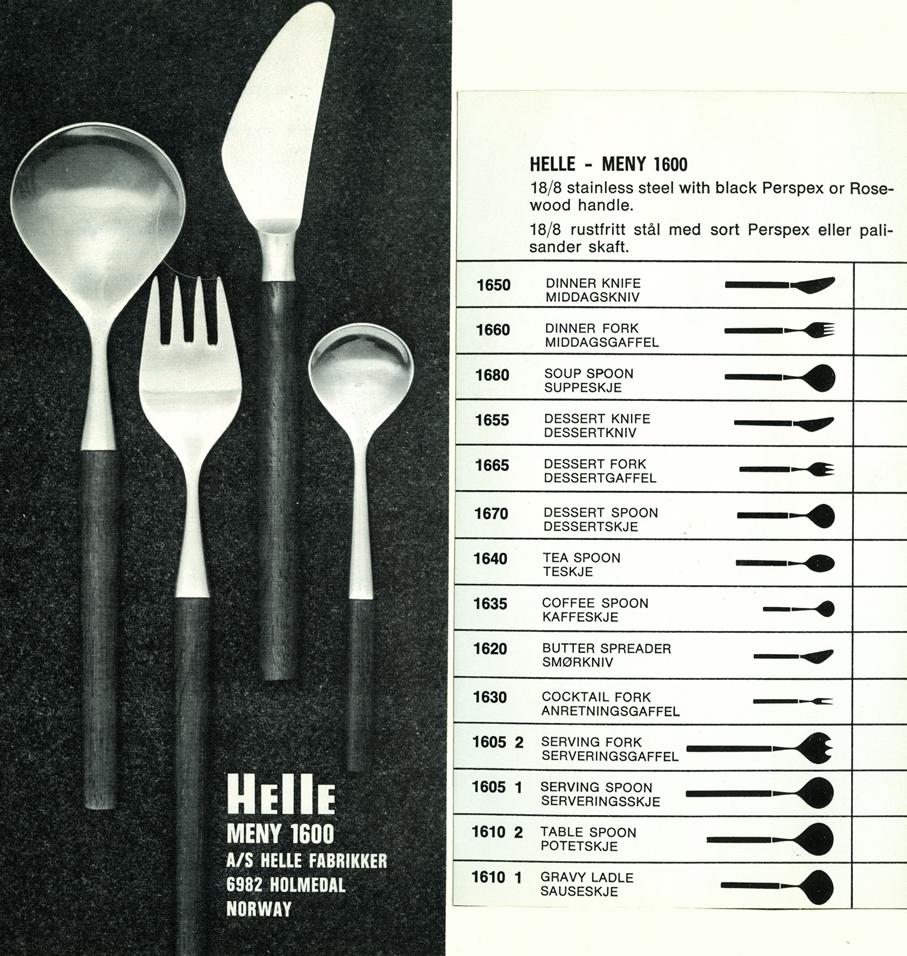Eystein Sandnes. Bestikk. Modell: Meny 1600. Produsert ved A/S Helle Fabrikker. Tegnet i 1962. Tildelt Merket for god design 1967. (Foto: Norsk Designråd)