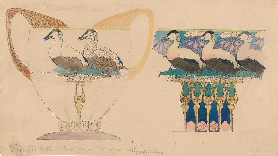 Thorolf Holmboe. Tegning til bolle i vindusemalje. For David-Andersen. Ca. 1906-10. (Foto: Nasjonalmuseet / Morten Thorkildsen)
