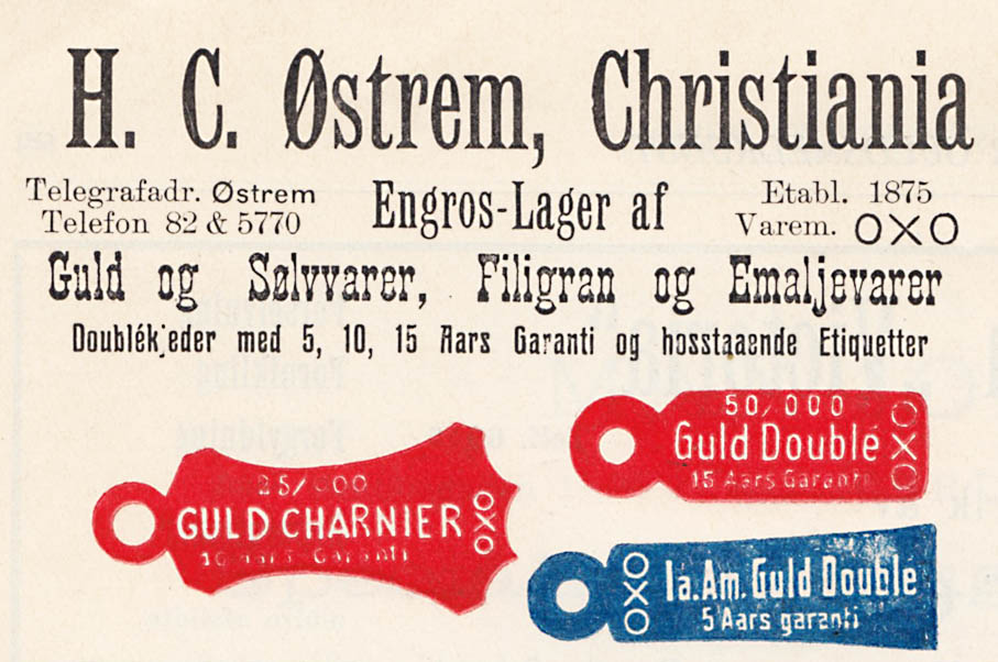 Annonse for H.C. Østrem fra 1911. Her er det en skjønn blanding av fonter og skriftstørrelser.