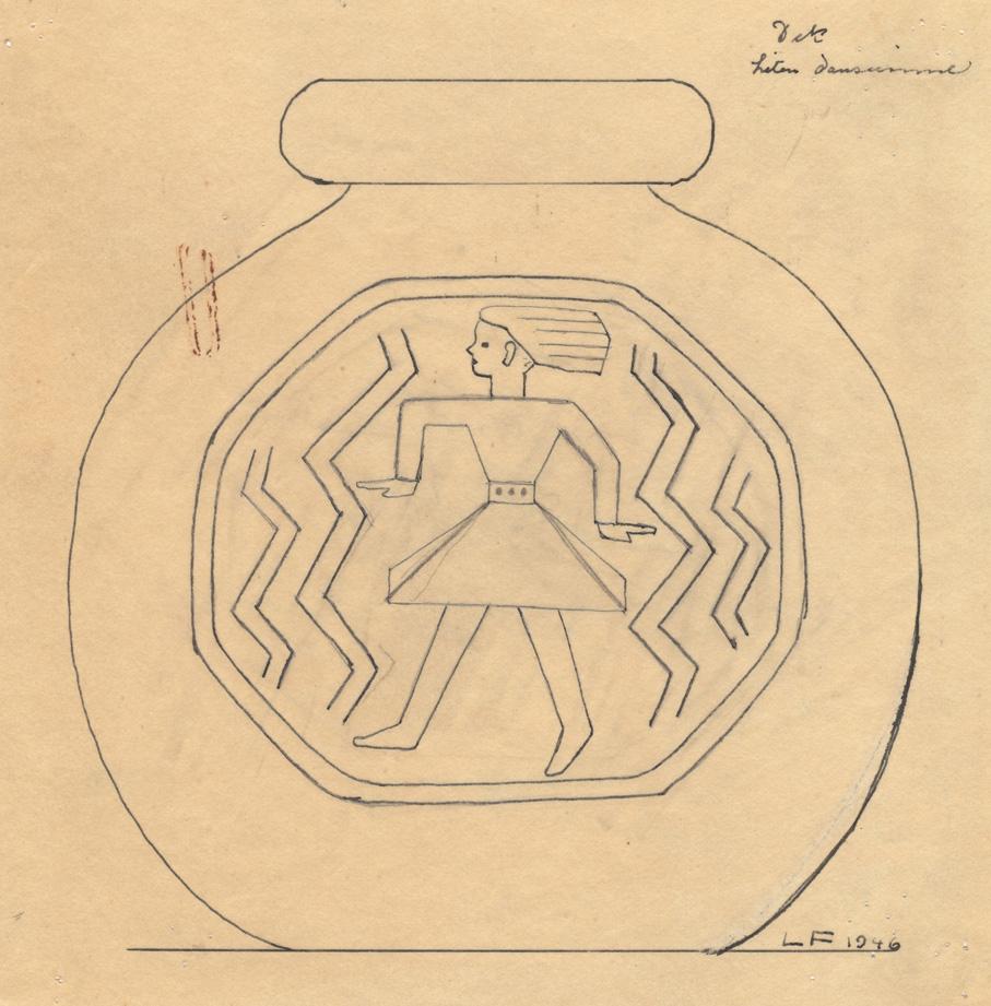 Lars Fletre. Tegning til vasedekor for Hadeland Glassverk. Motiv: Liten danserinne. Datert 1946. (Estate of Lars Fletre©Valborg Fletre Linn)