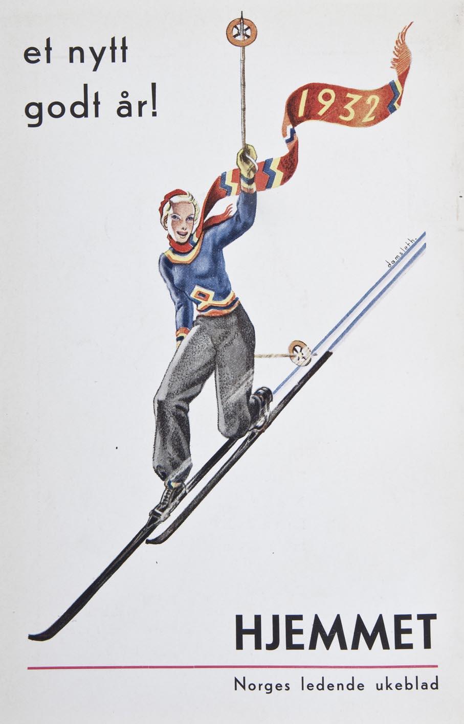 Harald Damsleths illustrasjon er på mange måter frekk. Kvinne i bukser og tettsittende klær som fremhever hennes former. Reklame for Hjemmet i 1932.