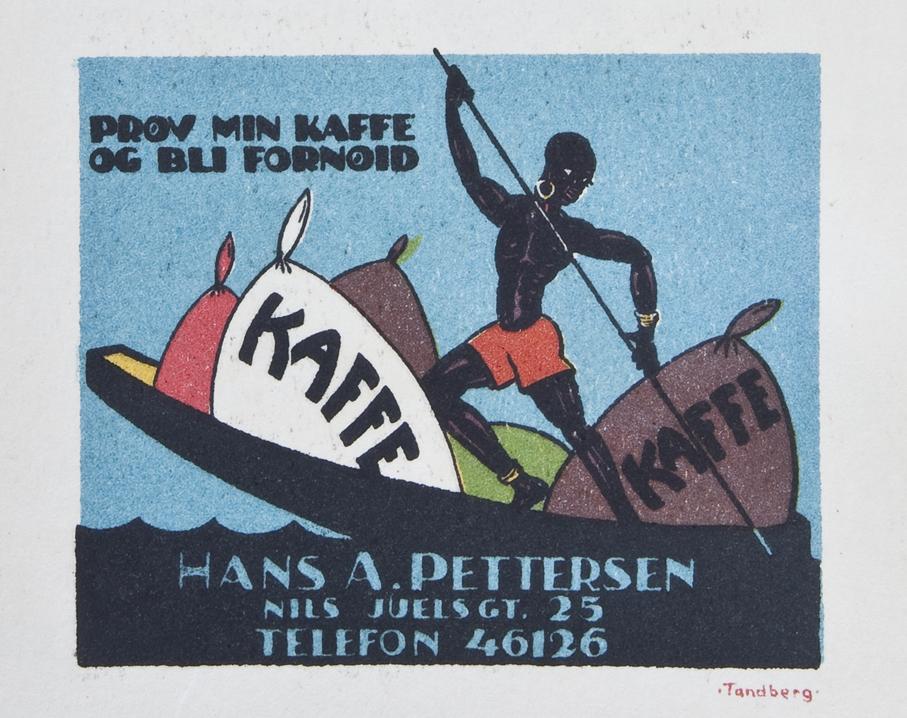 Gunnar Tandbergs annonser fra midten av 1920-tallet var kontrastrike og med en slående fargebruk.