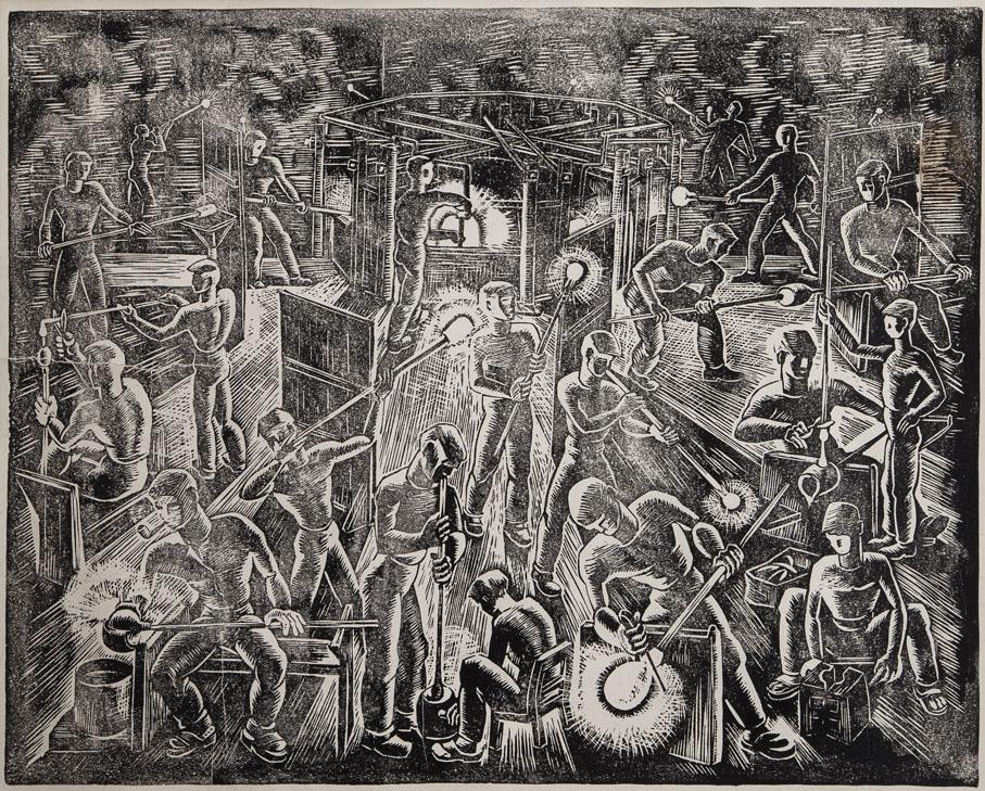 Lars Fletre. Linoleumsnitt. Motiv av glassarbeidere på Hadeland Glassverk. Utført som gave til bedriftsstyrer Forseth ved Hadeland Glassverk. 1945/46. (Foto: Holger Keifel)