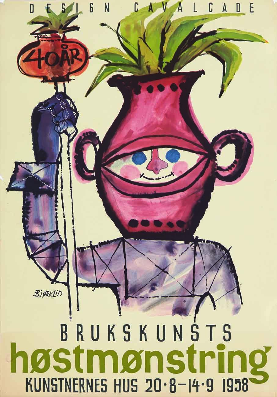 """Haakon Bjørklid. Plakat. """"Design Cavalcade. Brukskunst høstmønstring. Kunstnernes Hus."""" 1958. (Foto: Blomqvist Nettauksjon)"""