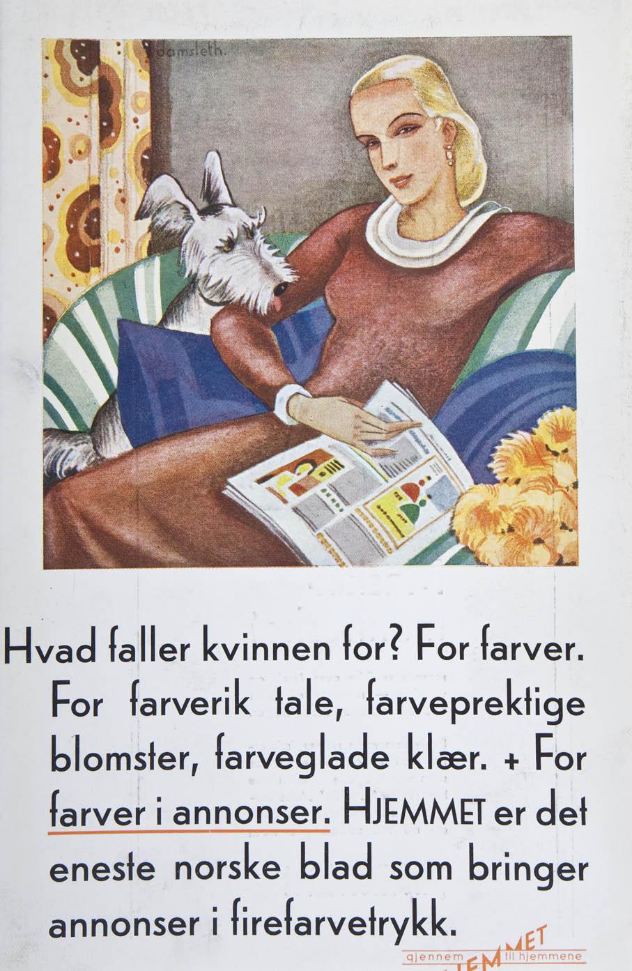 Harald Damsleth tegnet mange reklamer for Hjemmet på første halvdel av 1930-tallet.