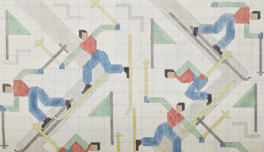 Else Poulsson. Tegning til vevet draperi. 1930-50-tallet. (Foto: Mats Linder)