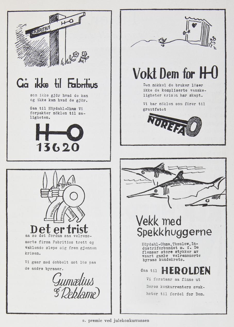 Gerda Wik og Øystein Jørgensens utkast til Reklameforeningens julekonkurranse i 1933 som fikk andrepremie. Publisert i Propaganda 1/1934.