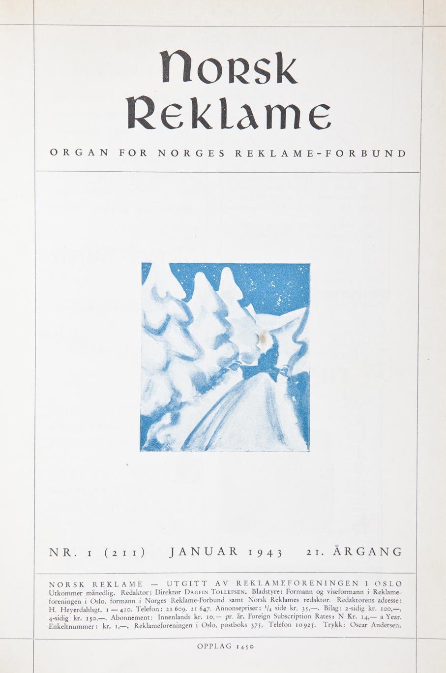 Forsidene til Norsk Reklame var i årene 1940 til 1945 langt fra så fargerike og vittige som før okkupasjonen.