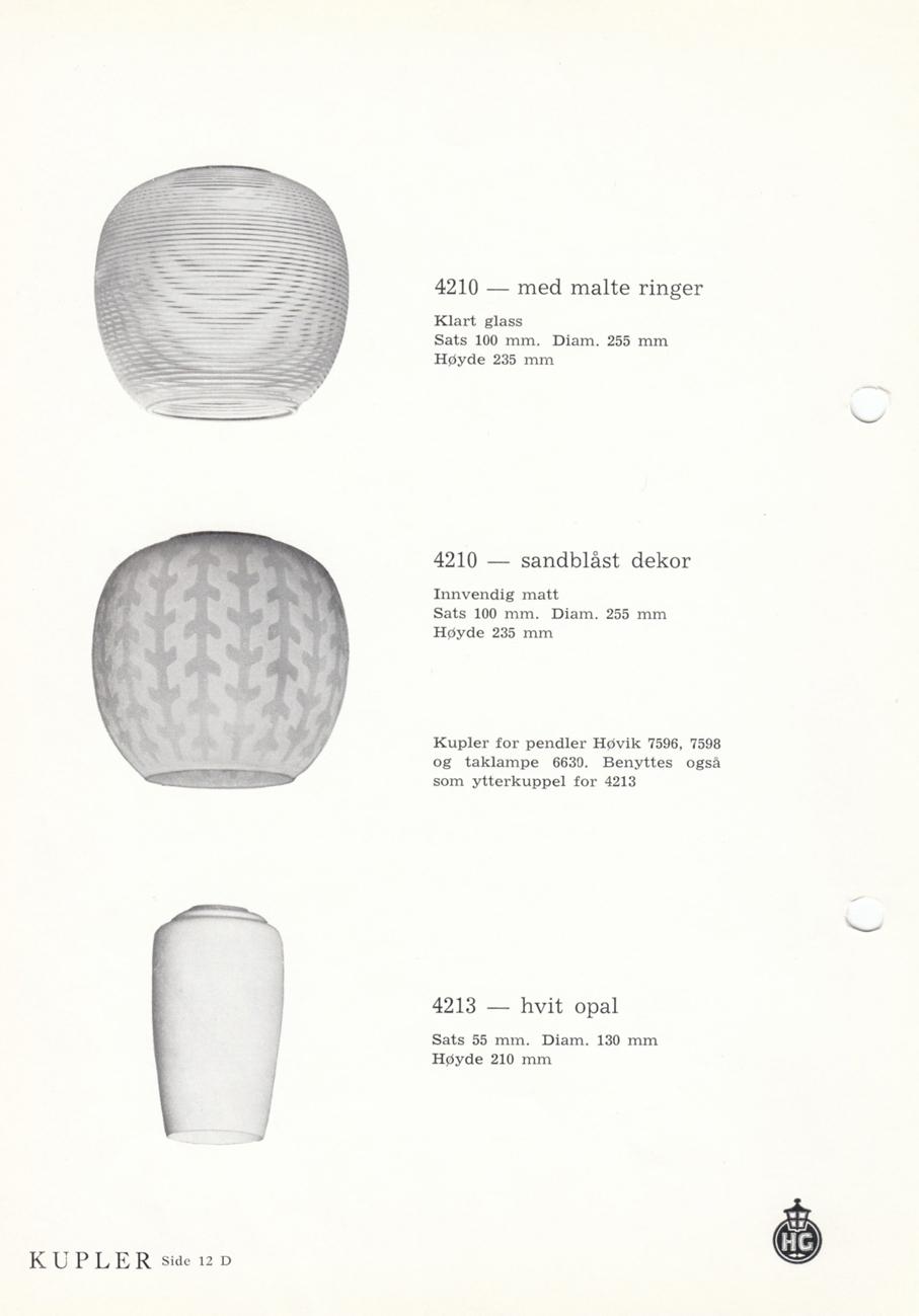 HØVIK LAMPEKUPLER – PRODUKTKATALOG FRA 1956 – Mats Linder