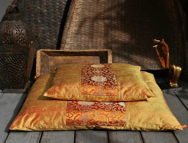 Beautiful Silk Zafu  Zabuton Meditation Cushions