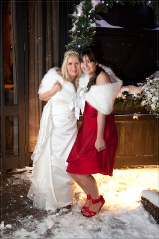 Mat Smith Wedding Photography - Bride with Bridesmaid outside Tithe Barn