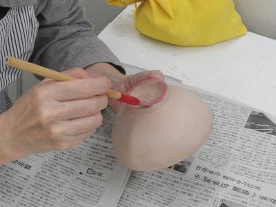 撥水剤を塗っています。