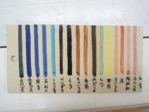 下絵付けの絵具の色見本