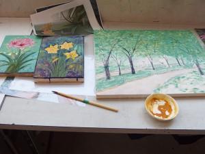 お花や風景を描いています