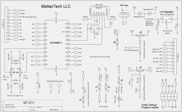 MT-D11 Atmel SAMD11 ARM Cortex M0+ USB development board