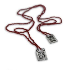 Scapolare Sacro con Granato Rosso in Argento 925 o Bronzo
