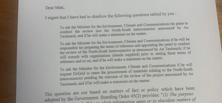 Need for clarity on N-S Interconnector Review as Ceann Comhairle deems it is not government policy
