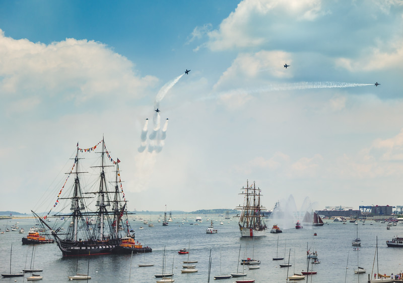 Blue Angels Fly Over Old Ironsides in Boston Harbor