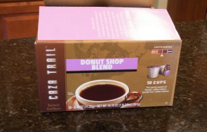 Here is the HUGE box of Caza Trail Donut Shop Blend K-cups my hubby had to buy (he actually bought 2) after our sample ran out.