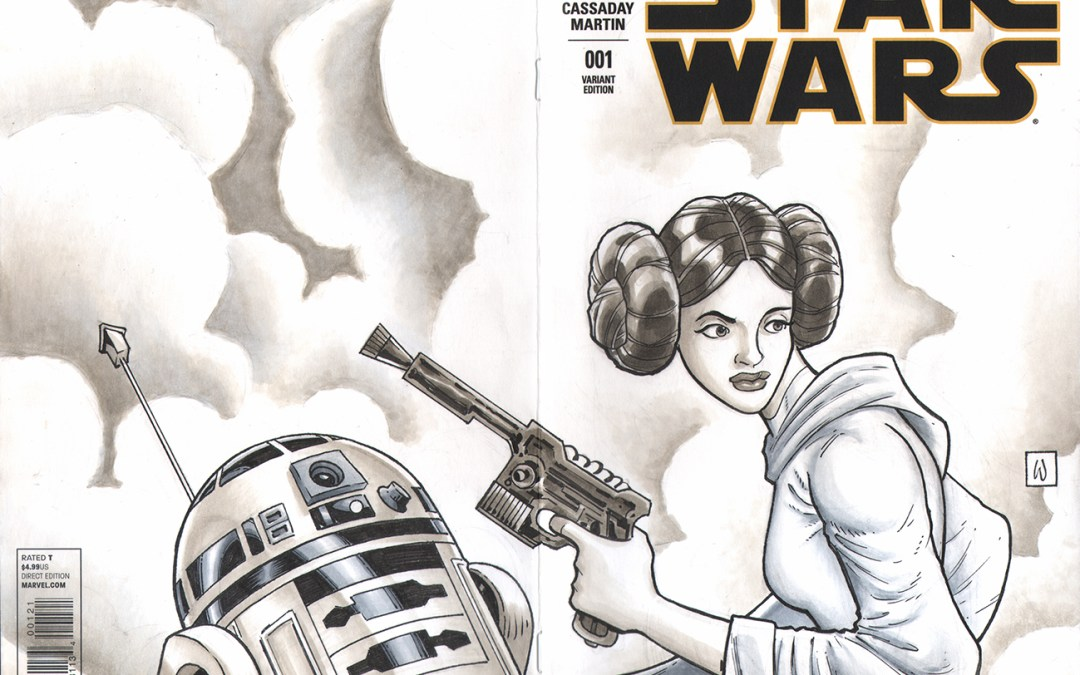 Princess Leia/R2D2 Sketch Cover