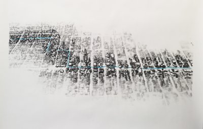 Map walking drawing artwork of Seattle, Movement in Kind, by Matthew Whitney