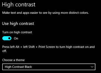 High contrast black mode selected