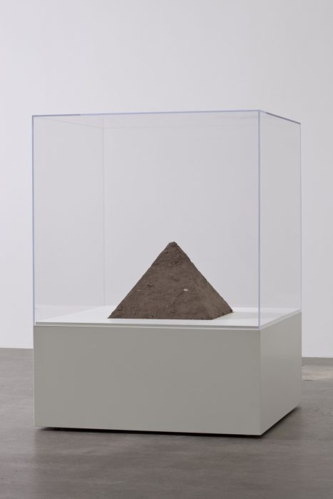 Pyramid of Dust, 2011 Dust, vitrine and pedestal 45 x 33 x 33 inches