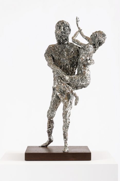 Tin Foil Sculpture (Pluto and Prosperpina), 2014Stainless steel with wood base 28 x 17.25 x 14.75 inches