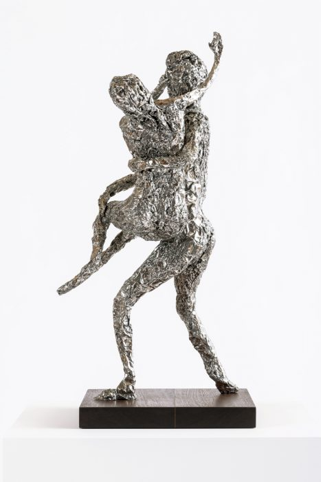 Tin Foil Sculpture (Pluto and Prosperpina), 2014 Stainless steel with wood base 28 x 17.25 x 14.75 inches