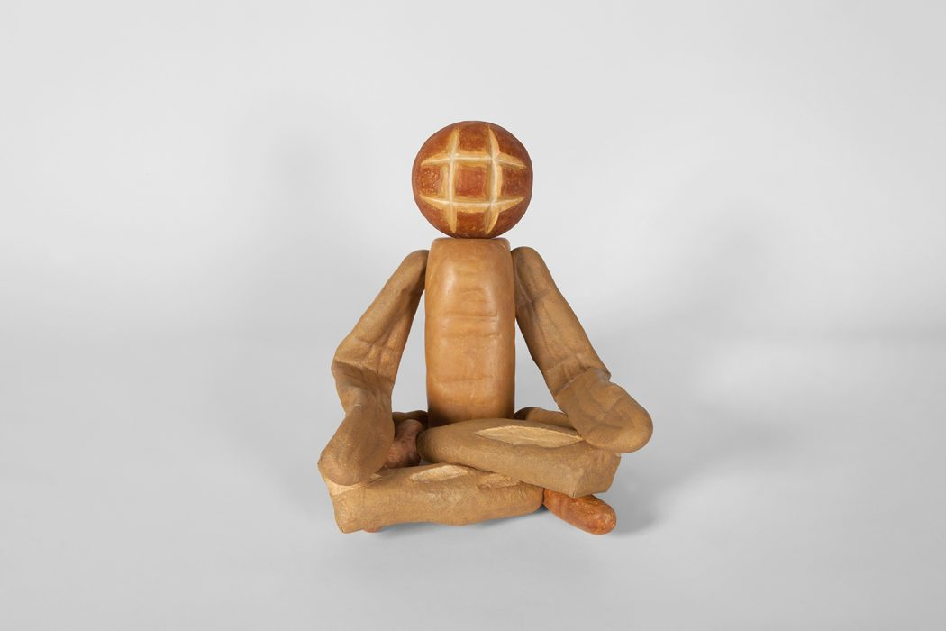 Bread Figure (Sitting Cross-Legged), 2018 Carved wood with paint 18.5 x 15.25 x 15.5 inches