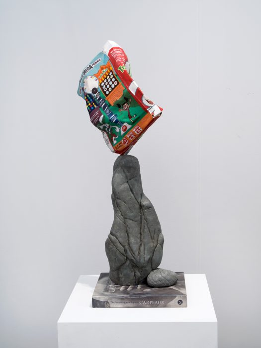Trix Box Balancing on a Rock with a Book, 2019 Carved wood with paint 32.5 x 11.5 x 12.5 inches