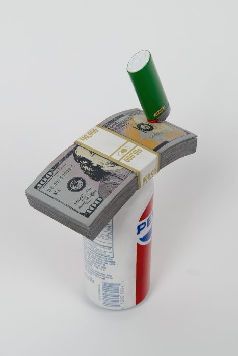 Soda with 10K and a Lighter, 2019 Carved wood and paint 10 x 6.25 x 2.75 inches
