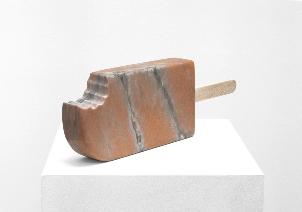 Creamsicle, 2015 Carved marble with wood 6.75 x 20.5 x 2.38 inches