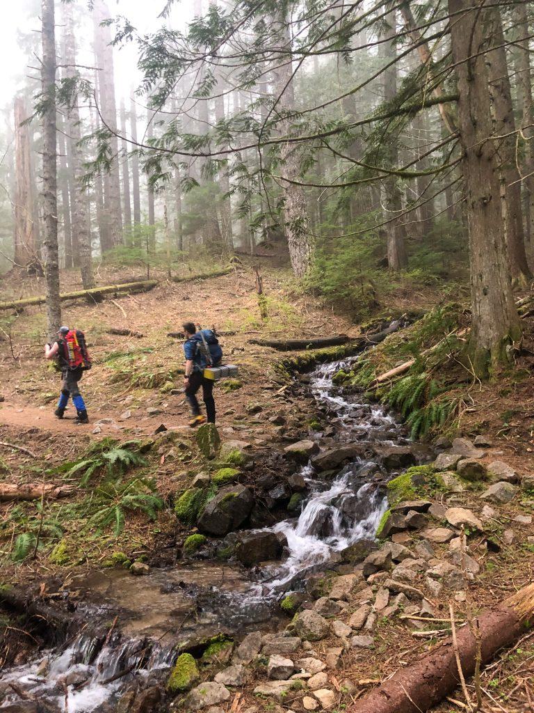Cool creek crossing on the Pratt Lake Trail