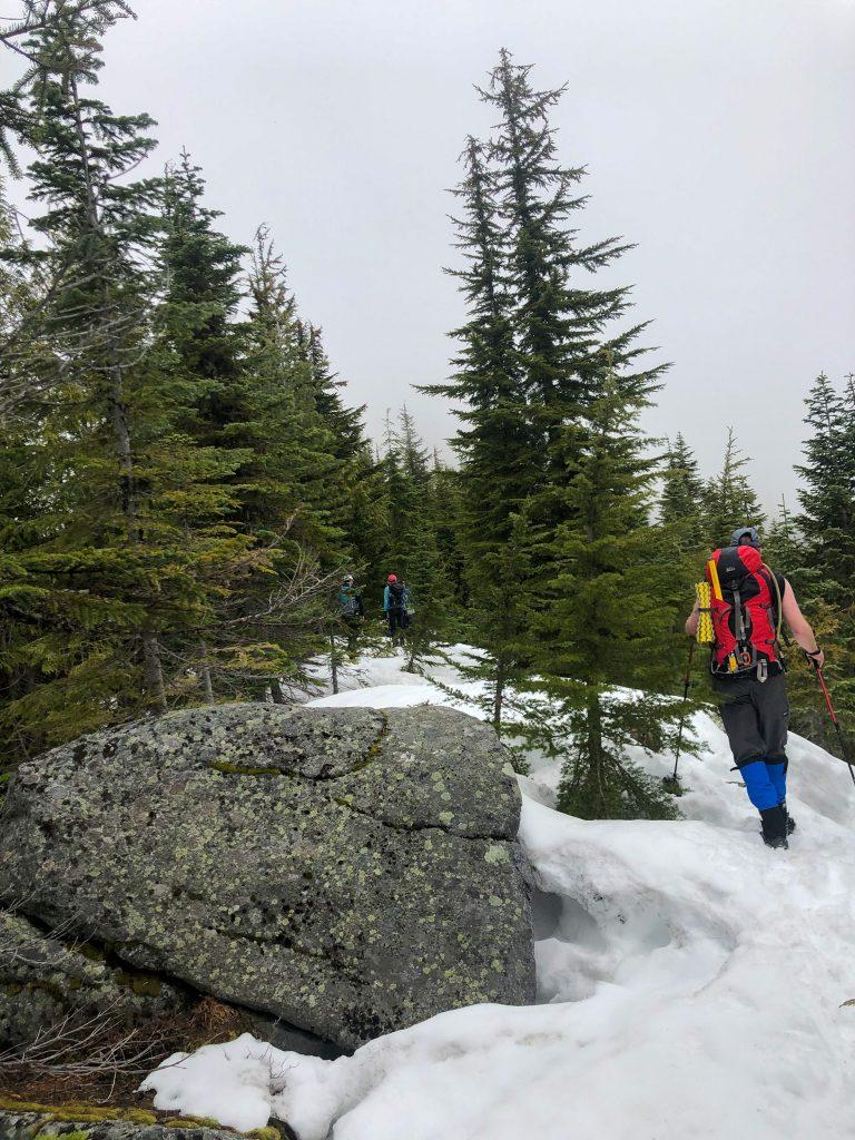 Walking up the ridge on Pratt.