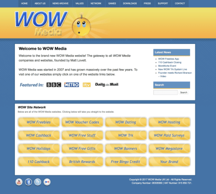 WOW Media website in 2011