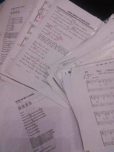 pile of sheet music