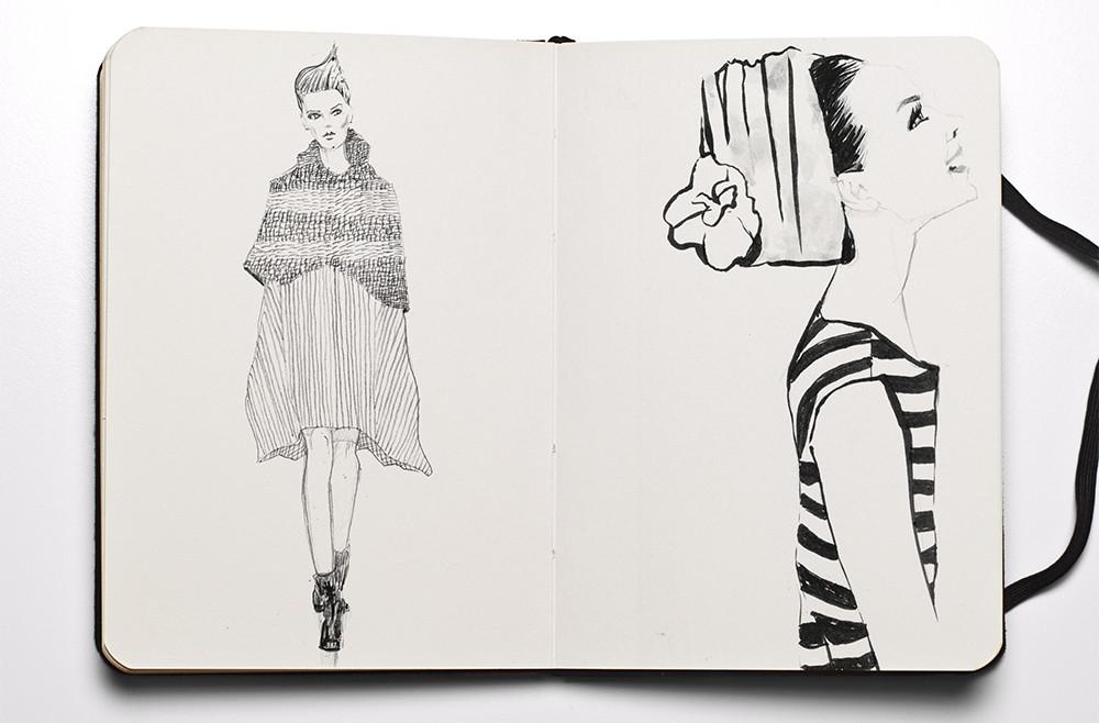 fashion sketchbook - side on and