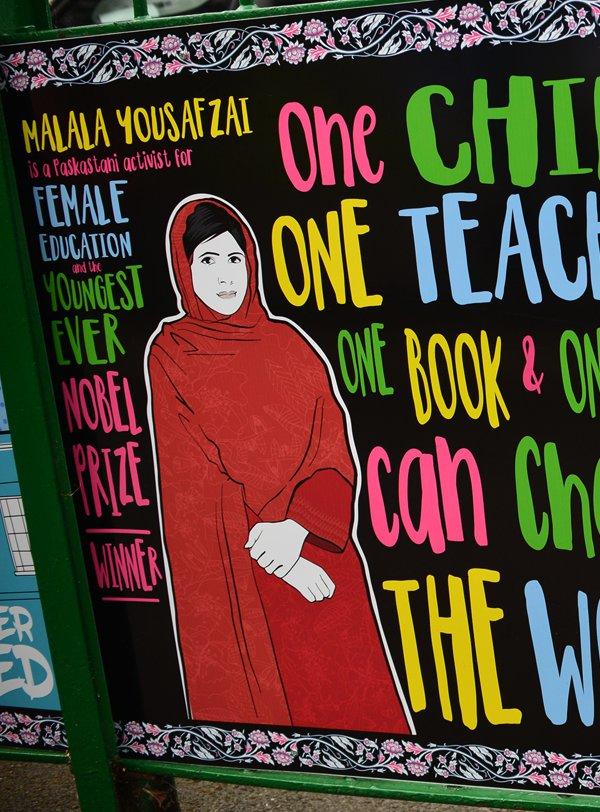 An illustration of Malala Yousafzai by Matt Richards