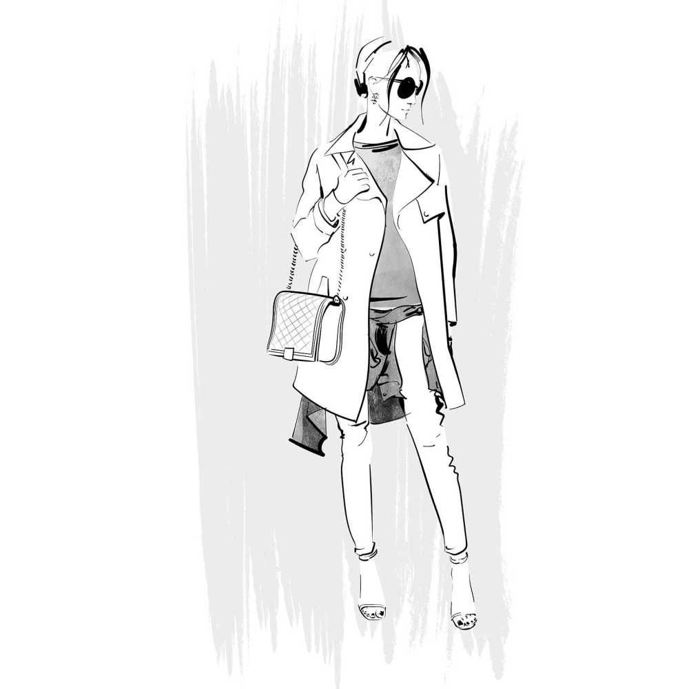 trench coat and bag fashion illustration
